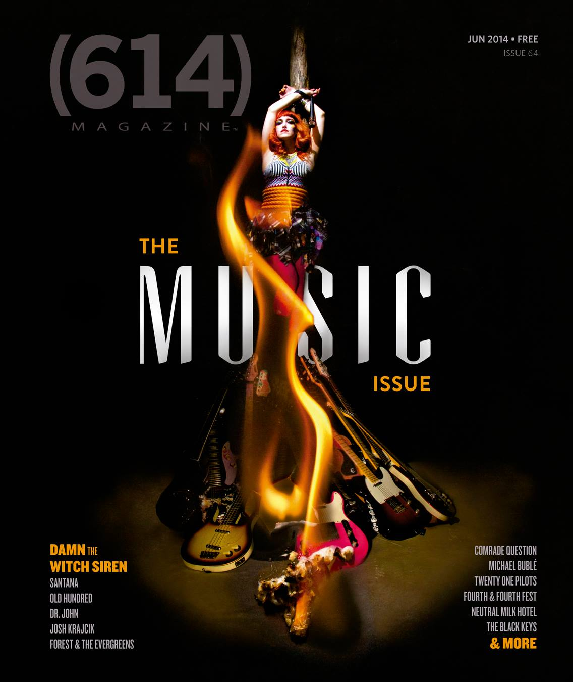 Damn the Witch Siren on the cover of 614 Magazine