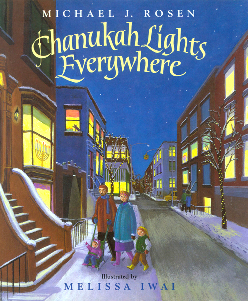 "Chanukah Lights Everywhere  One crescent moon glows in the sky. Two headlights shine through the window. On each magical night of Chanukah, a young boy and his sister count more lights shining all around them! Join them as they discover what it means to celebrate Chanukah in a world filled with so many other lights. And look carefully at each of Melissa Iwai's delightfully playful illustrations, in which an ever-growing number of cats and cleverly hidden objects serve as reminders of each day's joyous Chanukah celebration! This gentle and fun-filled exploration of the meaning of Chanukah reminds families everywhere that the warmth of the holiday extends far beyond the menorah.  ""Iwai's (Night Shift Daddy) cheery acrylics contain an unannounced game: the numbers of cats per spread correspond to the successive nights."" Publisher's Weekly   Harcourt Books for Children 2001    ISBN:  0152166920"