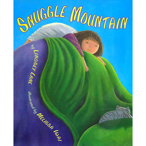 """Snuggle Mountain   Snuggle Mountain is now available for ipad and iphone!  To view, click here .  Check out the new Snuggle Mountain website here !   Clarion 2003    ISBN-10: 0618043284  """"Simple,descriptive language is supported by the brightly colored illustrations, which make clear what the mountain the giant really are (a bed and two sleeping parents)."""" The Horn Book Guide   """"Acrylic and pencil illustrations successfully turn the soft quilt into a craggy mountain andswirling blankets into a rushing stream. Muted colors and soft shading give this tribute to one child's imagination a comforting twist."""" Kirkus Reviews      """"a little girl's triumphant trek...lively and exciting...thrilling tiptoe travels...storytime and preschool audiences will enjoy this amusing adventure."""" School Library Journal      """"...inventive story..illustrations successfully turn...soft quilt into a craggy mountain...swirling blankets into...rushing stream...tribute to...child's imagination"""" Kirkus Reviews"""