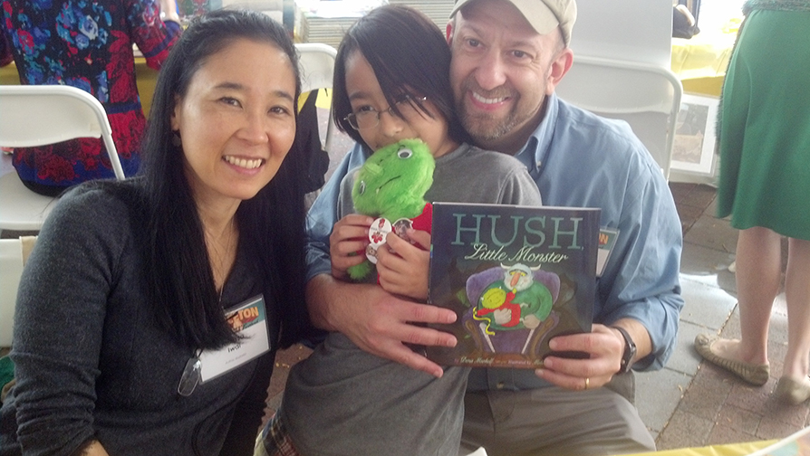 WIth our book and our little monster....