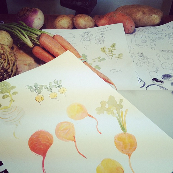 Some veggies. Couldn't help putting some faces on some of them!