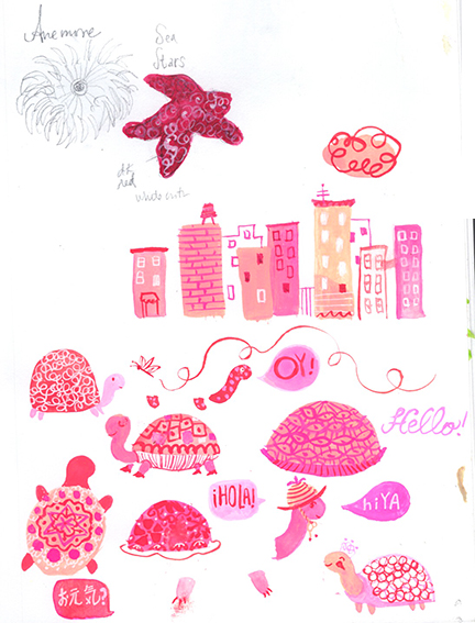"""Gouache -- my new favorite """"playing around"""" medium! I chose pink and magenta because it's one of the few colors that is still fresh -- so many others have dried up.... :("""