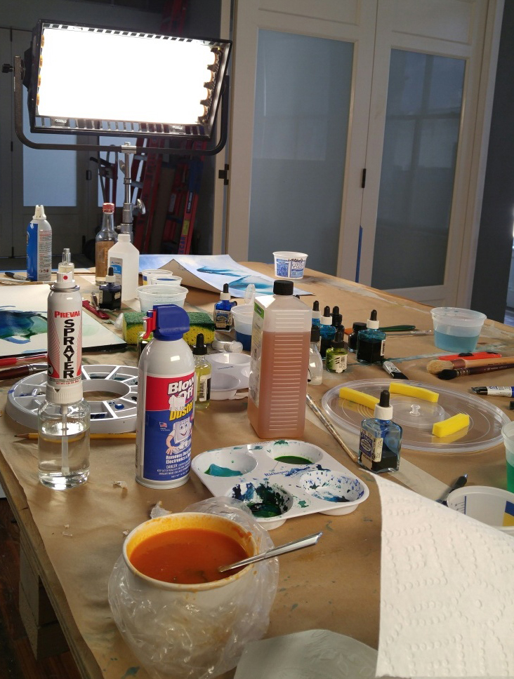 Some painting and soup day before the shoot.  On shooting days, our paint table looked like it was hit by a hurricane.  It was CRAZY chaos.