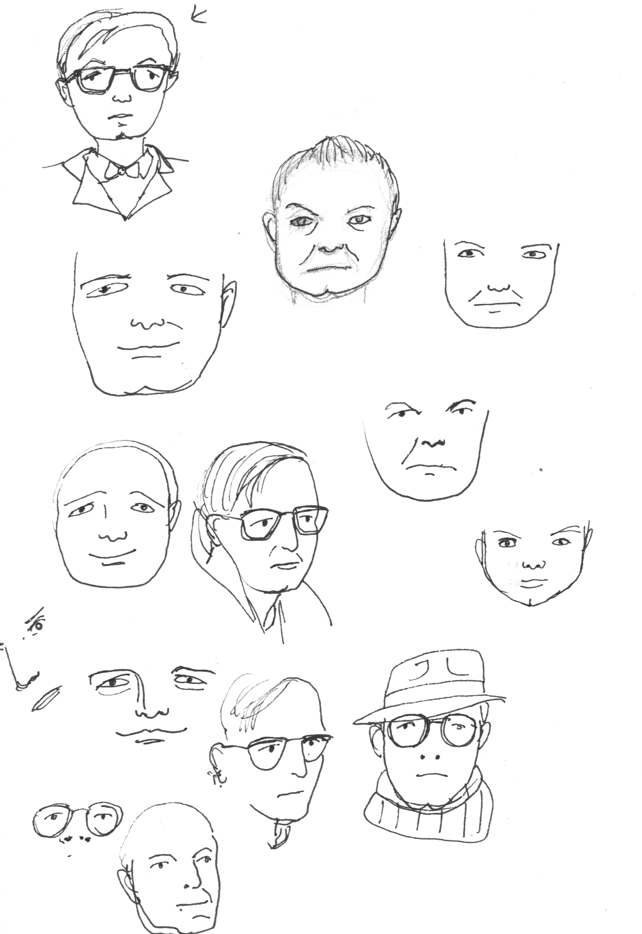 Truman Capote was the hardest to capture the likeness of with simple lines!