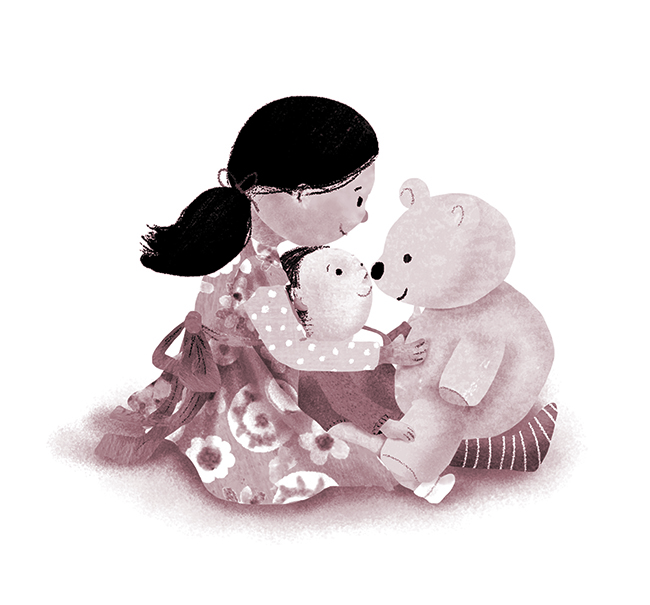 Girl and Baby and Teddy Melissa Iwai 2015