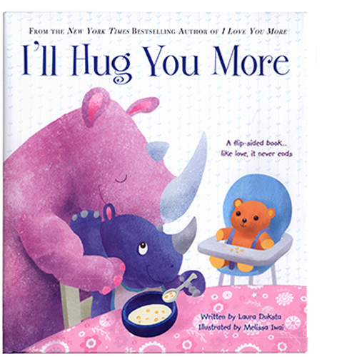 I'll Hug You More is a flip book that has two stories, one from the point of view of the parents and one from the point of view of the kids'. This is the cover from the parents' point of view.