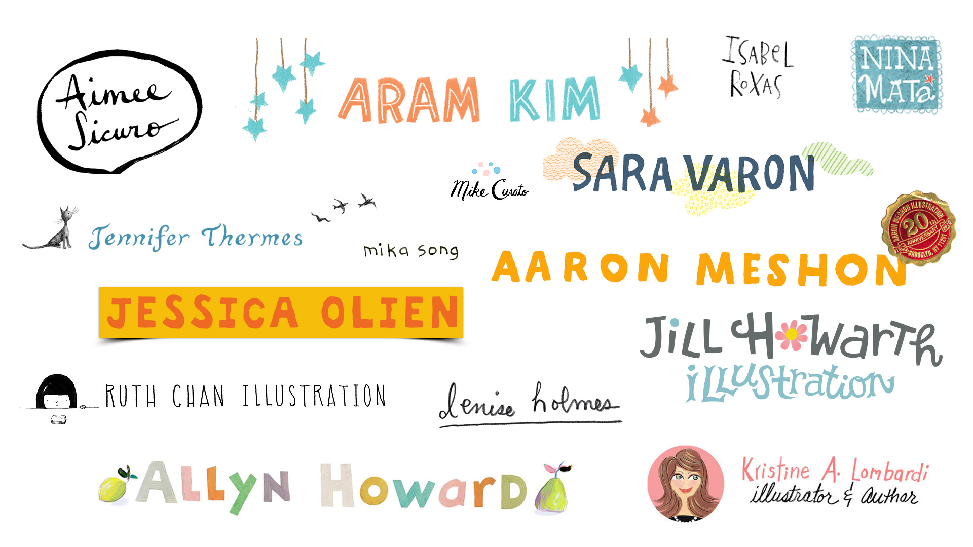 Some author/illustrator friends and their hand lettered logos