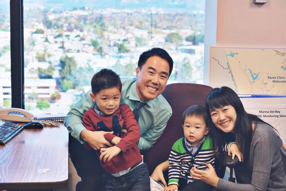 Family visits Pastor TJ at work. {Water Engineer for Los Angeles}