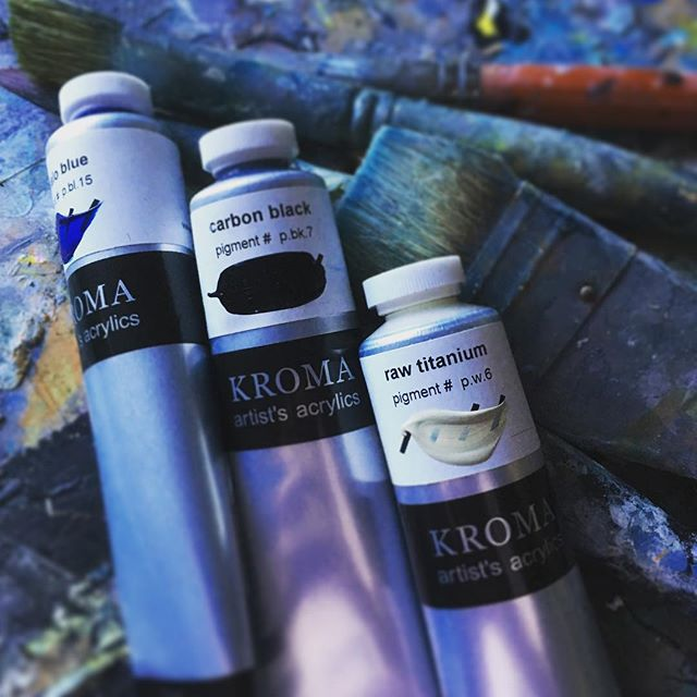 Mini break over - back at it today and looking forward to working with these @kromaacrylics from Granville Island - #canadianpaintmanufacturer #kromapaint #vancouver#buycanadian