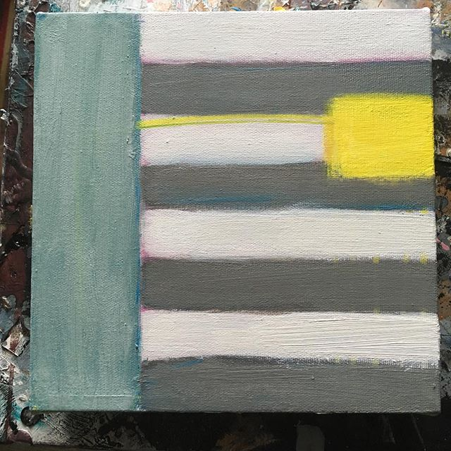 Sign post -  a small one - might add some pink later - #painting #stripes #city #stripmall #torontoart #abstractart #seaside #lakeside #yellow #beach