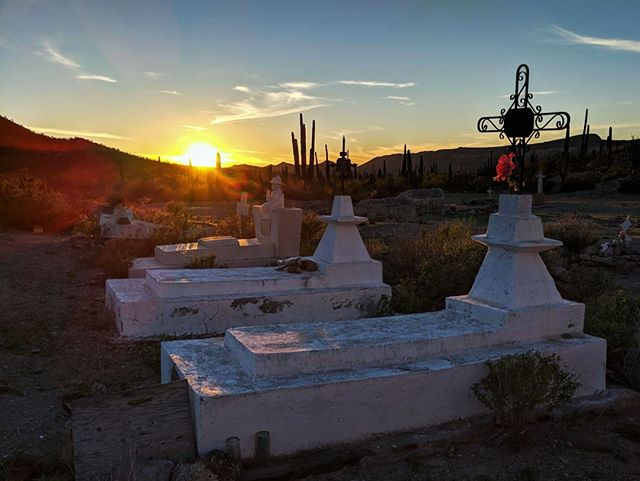 Another day comes to an end over the small cemetary dedicated to deceased missionaries and the families of the ranches nearby.  #baja #bajacalifornia #mexico #optoutside #neverstopexploring #misionsanborja #missionsanborja #history #missionaries #jesuitmission #sunset