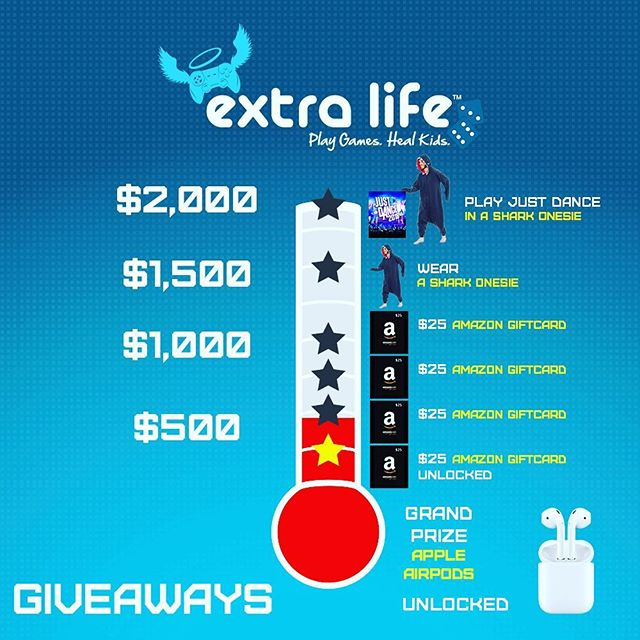 TOMORROW: Help sick kids and be entered to win #airpods 🎧 or amazon gift cards! Donate any amount to be entered to win. Link in my Bio. Thank you! #UF #charity #giveaway #videogames #justdance #extralife2018 #ExtraLife