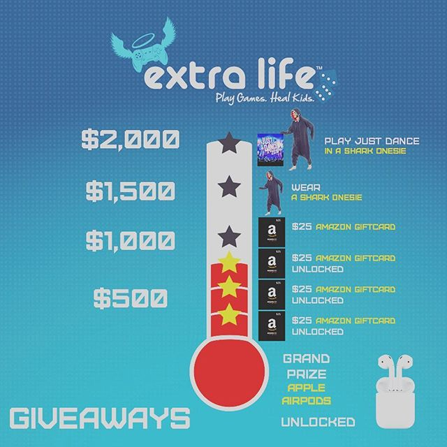 Just crossed $750!! Let's keep the momentum going. Donate and/or watch through link in my bio or going to http://audience.gives THANK YOU 🙏 #ExtraLife #extralife2018 #gaming #airpods