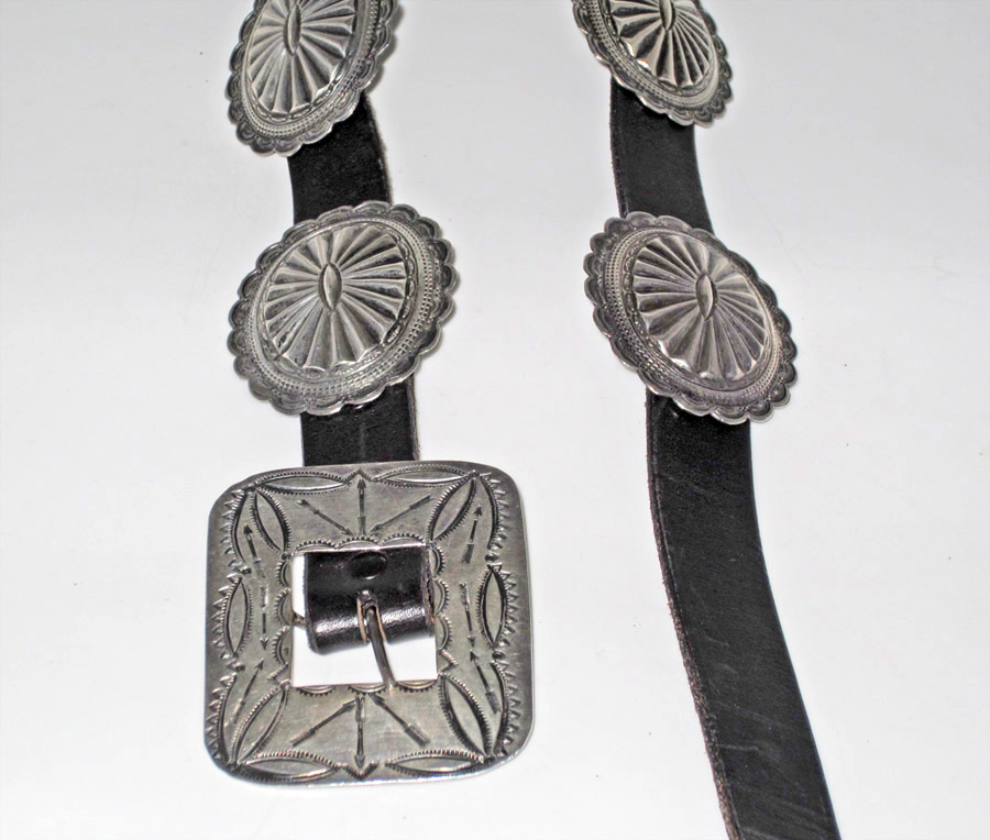 1930s concho belt with arrows...probably made for Fred Harvey shops that were in the railroad stations