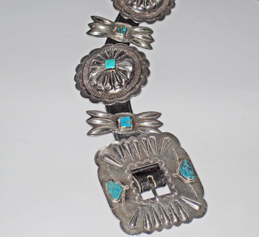 Navajo concho belt, 1920s-1930s with repousse' and turquoise