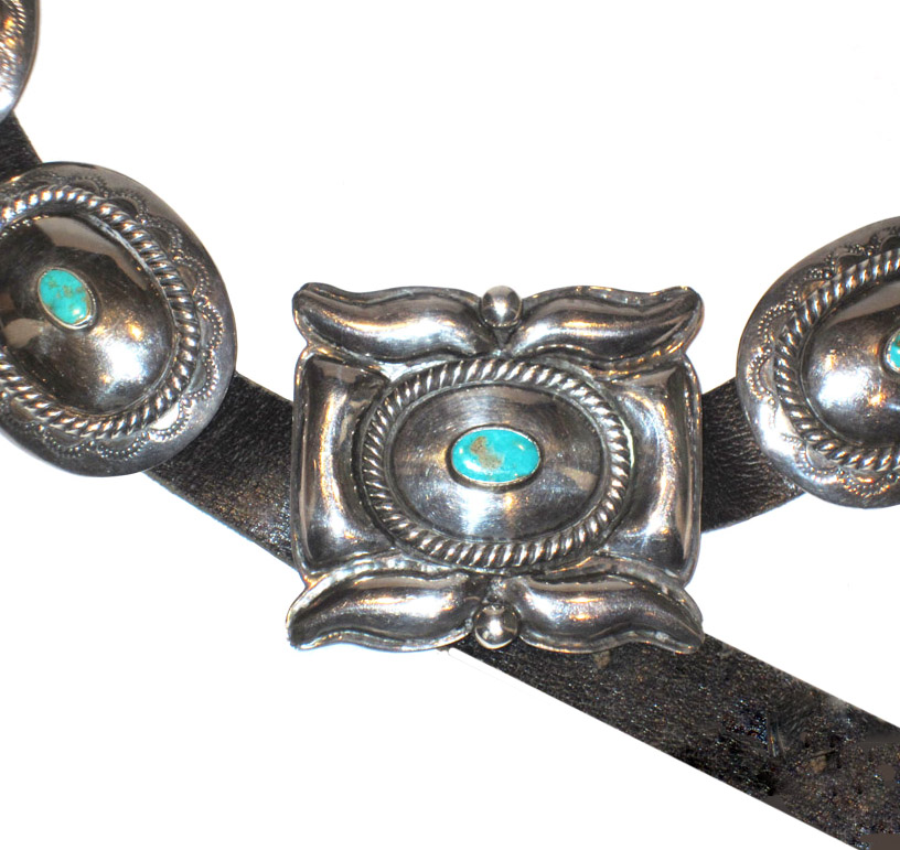 Navajo concho belt, mid-20th century or possibly earlier.