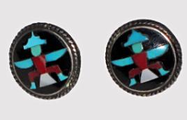 Zuni mosaic inlay earrings, attributed to John Leekity (John Gordon Leak)