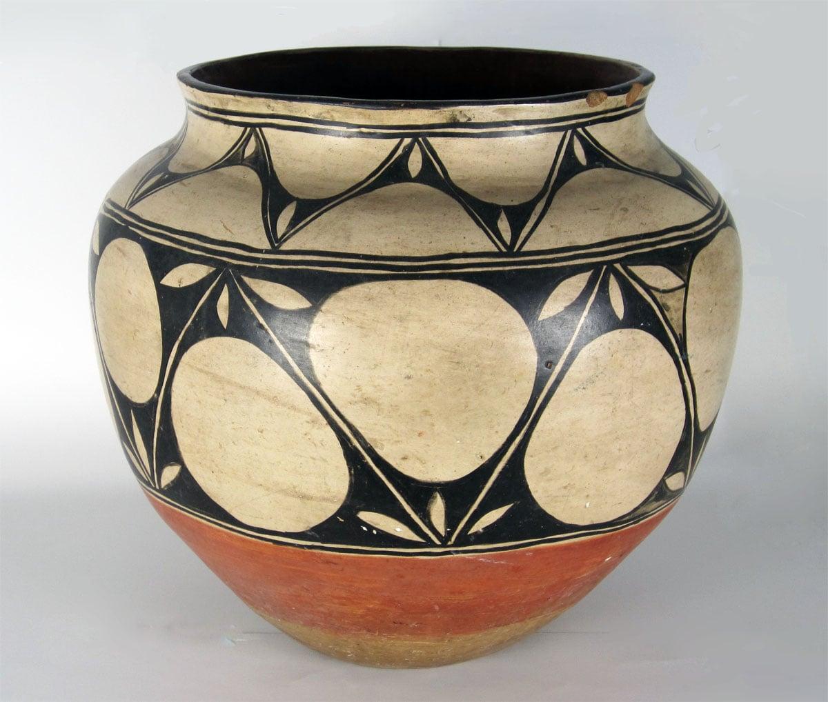 "Historic Santo Domingo large storage jar, 17 3/4"" diameter x 19"" high: http://www.marcyburns.com/pottery-collection/santo-domingo-large-storage-jar"