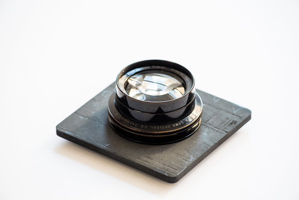 The 100+ year-old lens mounted on a few-days-old lens board. Photo: Ian Tuttle