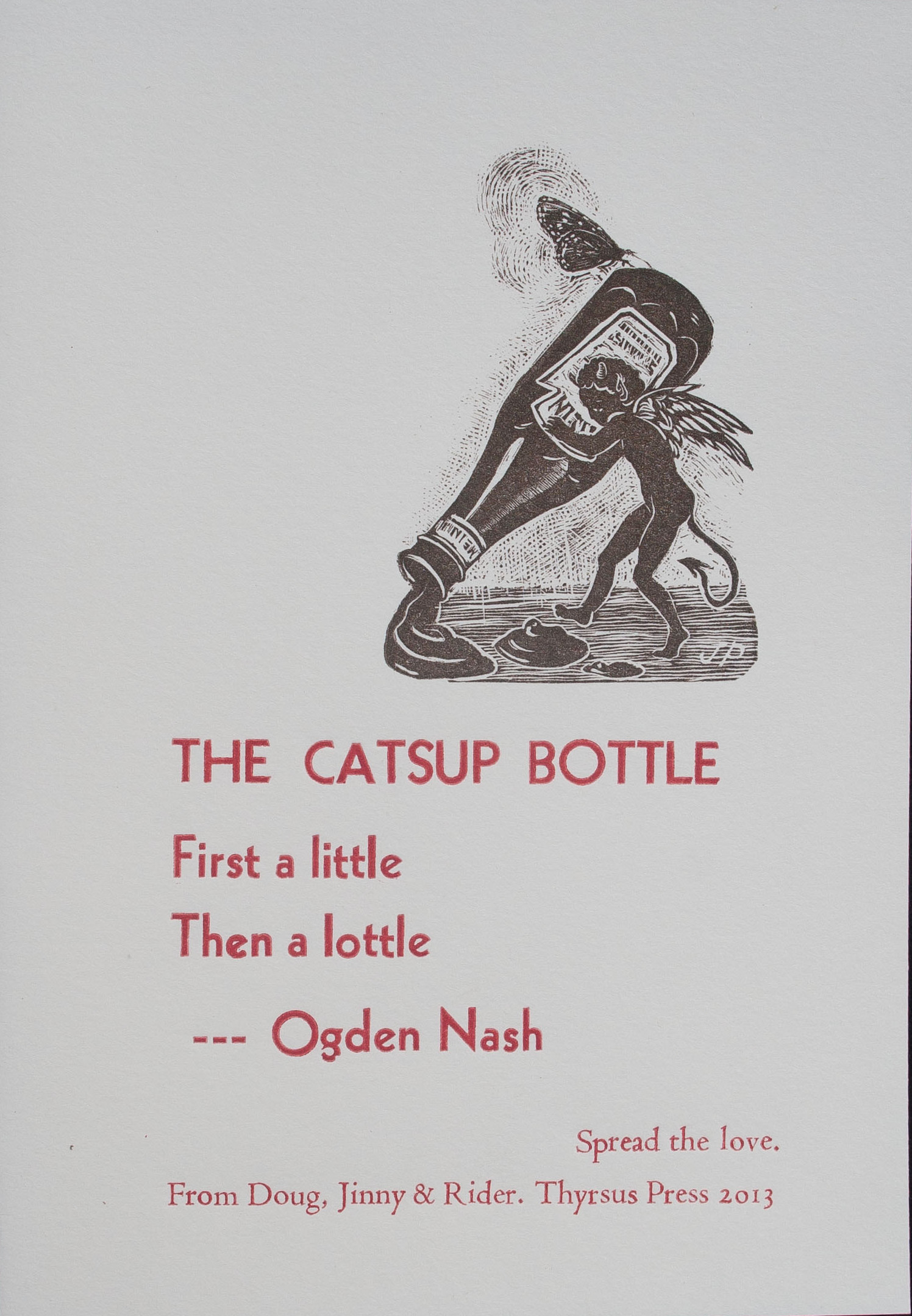 Ogden Nash, The Catsup Bottle, 2013