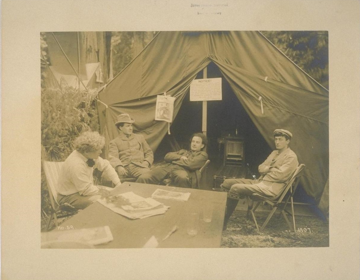 James Hopper, Herman Scheffauer, Harry Lafler, and George Sterling at the Bohemian Grove, 1907. (Source: UC Berkeley, Bancroft Library)