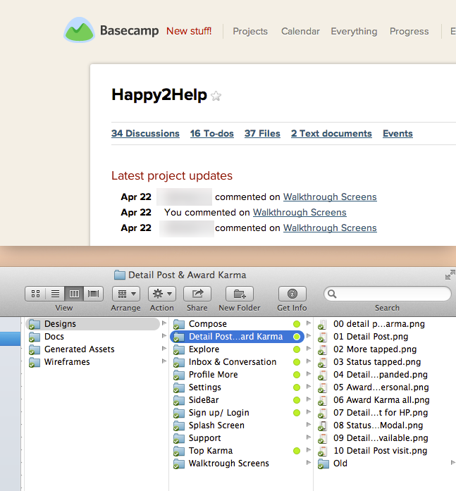 We created lot of topics & discussion. We use basecamp to gather feedbacks & share files on dropbox