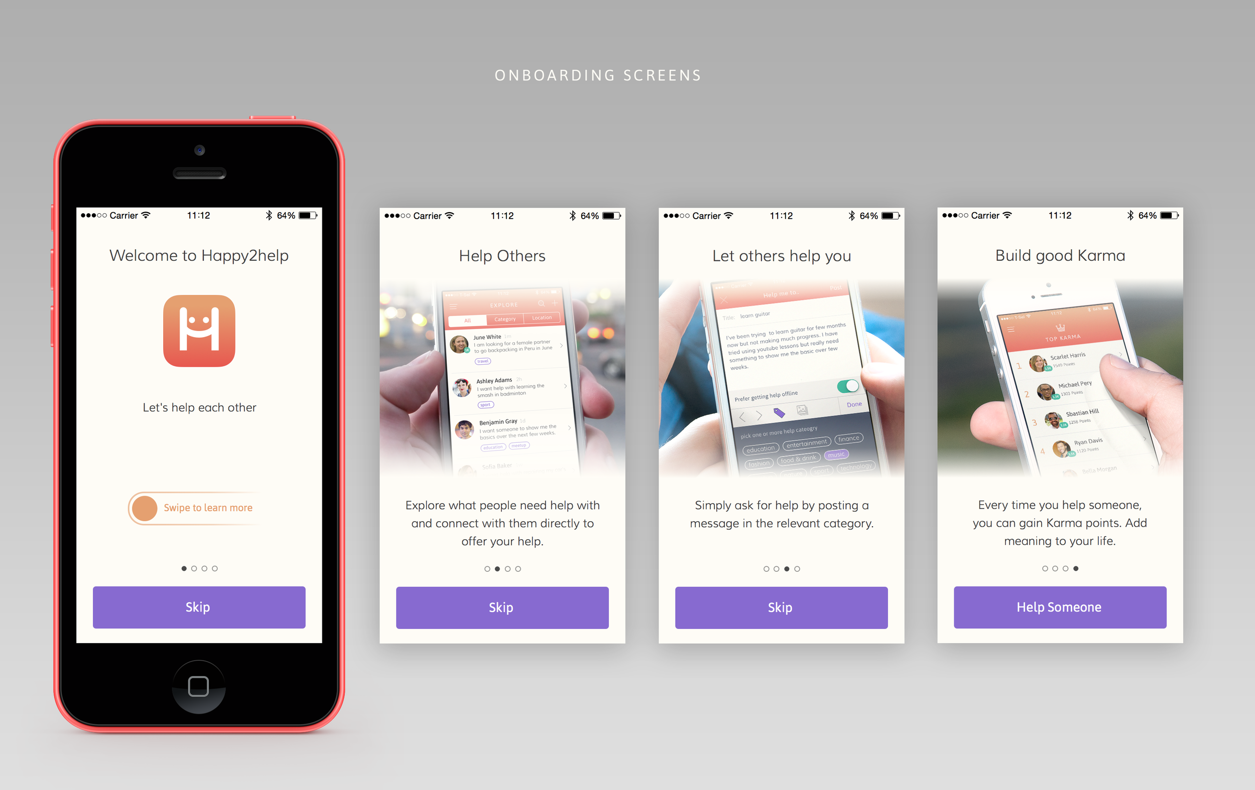 Onboarding screens focus on introducing what user can do within the app