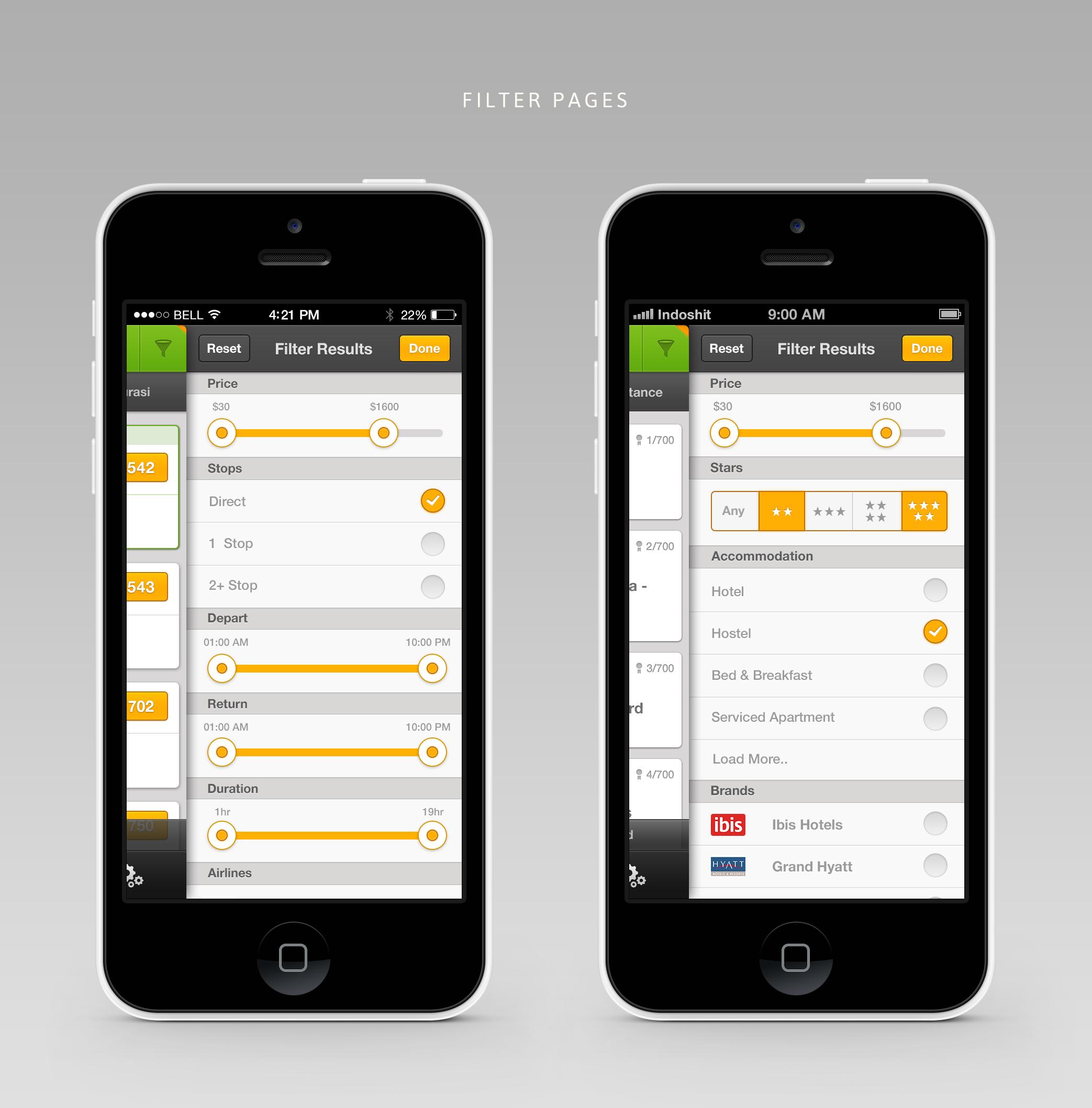 Left: Flight filter. Right: Hotel filter. Orange corner on each section indicate user modify the filter.