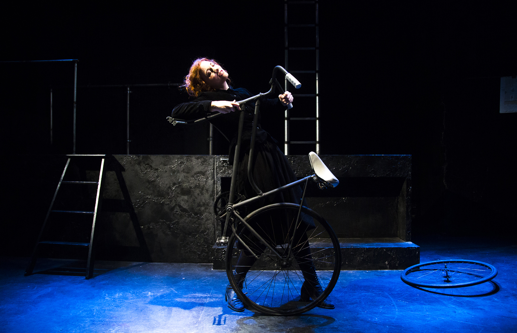Danielle Baynes performs her incredible debut as a playwright,  Bicycle , at the Old Fitz, 2016. Photo Matt Ralph.