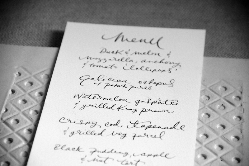 Custom hand lettered menus for a recent wedding