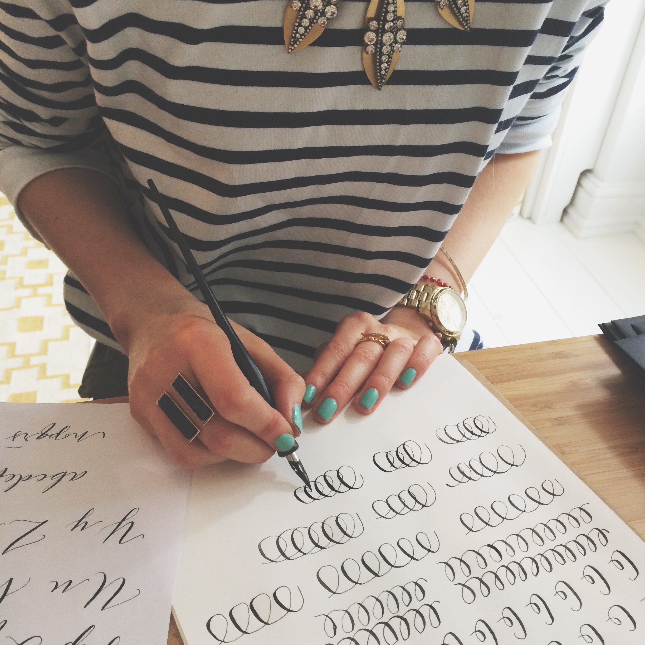 Express calligraphy workshops, for the Winter Boden Press Day. Organised through  Quill London.