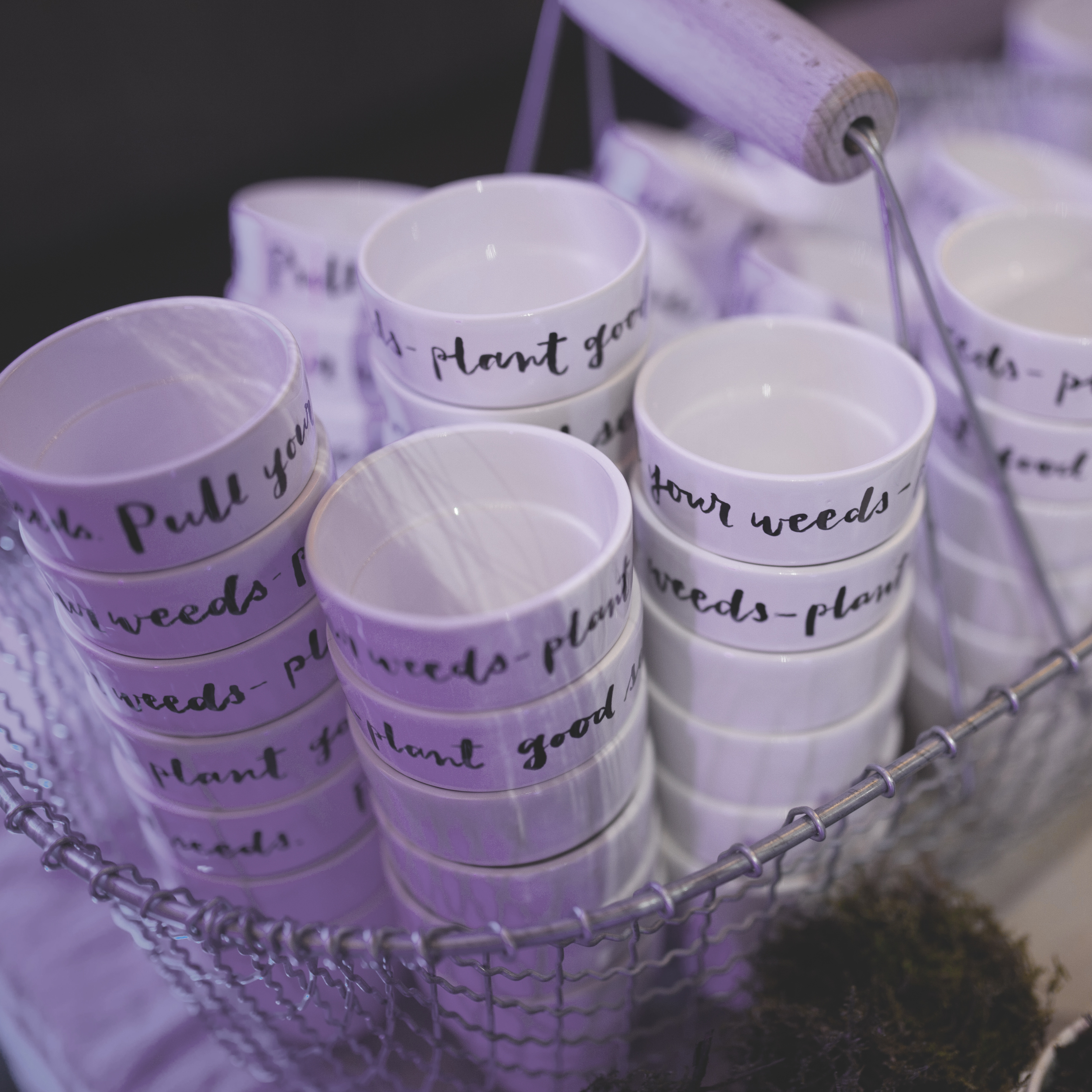 Personalised plant pots at Google's Campus London 4th Birthday event, for Quill London and Heaps & Stacks.