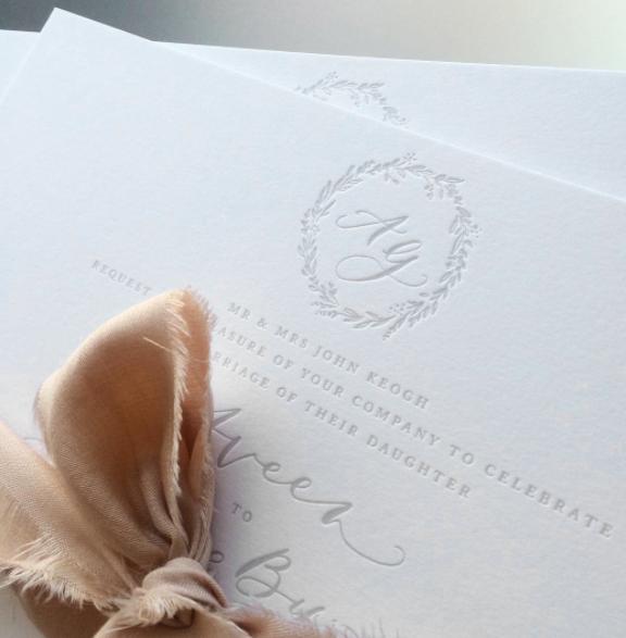 Custom, letterpress invitations for Aveen & George Byron