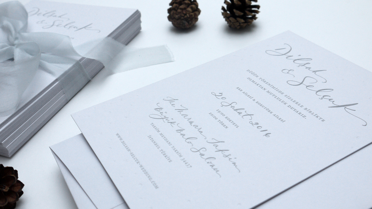 Grey on grey, letterpress and blind embossed invitations for a wedding in Istanbul