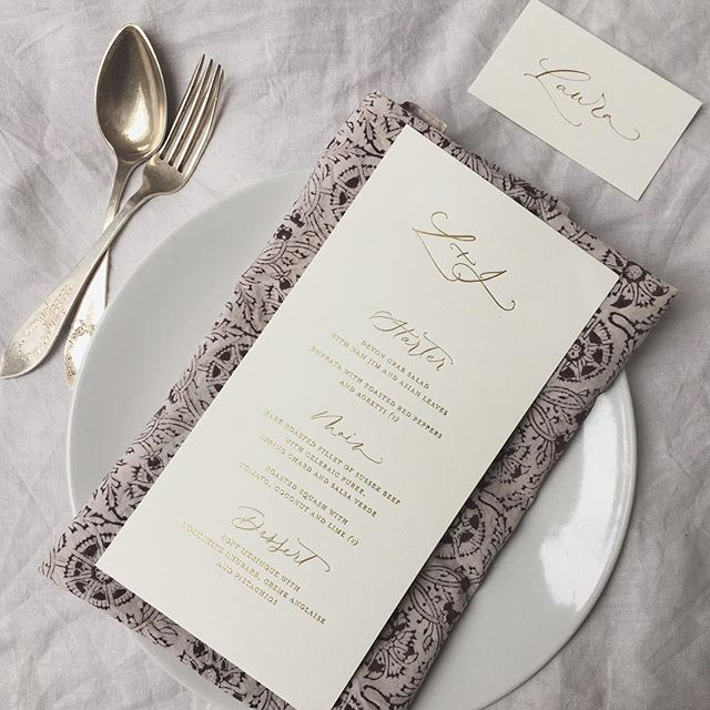 Decadent foiled invitations for Laura and Josh's Shoreditch wedding with @italian_eye_. Swipe to see where the menus ended up and the magic that Angela and @palaisflowers created ✨ ✨