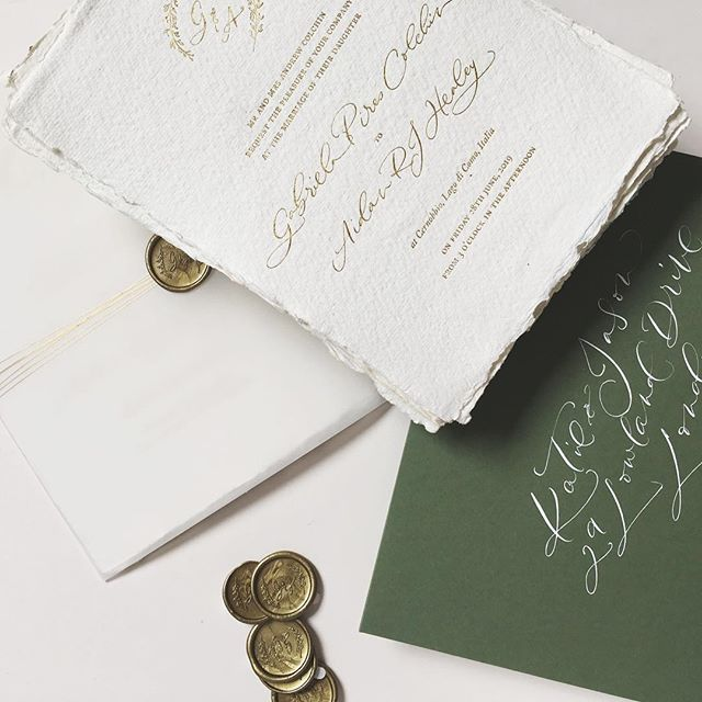 Can somebody please come and teach me how to take decent photographs of my work?! In the meantime, here are some invitations I created for a Lake Como wedding. Gold foil on handmade paper, wrapped in vellum, tied with gold twine and sealed with custom wax seal.