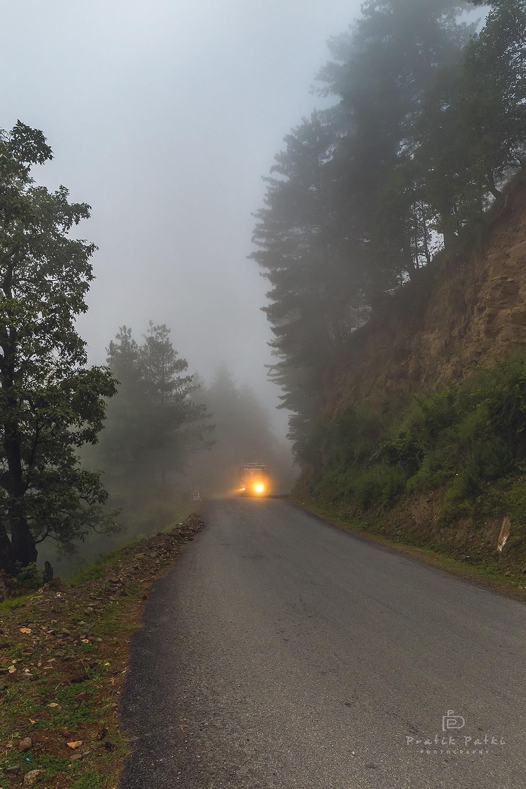 A glimpse of what the entire road looked like early morning. It was one of the best downhills ever. Great tarmac, sparse traffic, cold mist and dense woods.