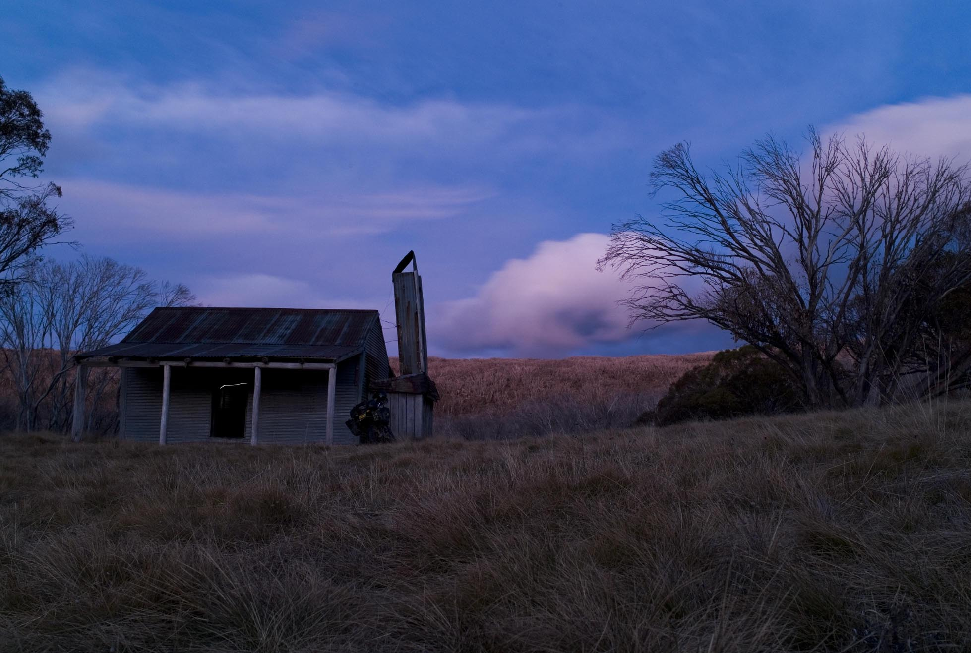 Bradley's Hut at dusk.
