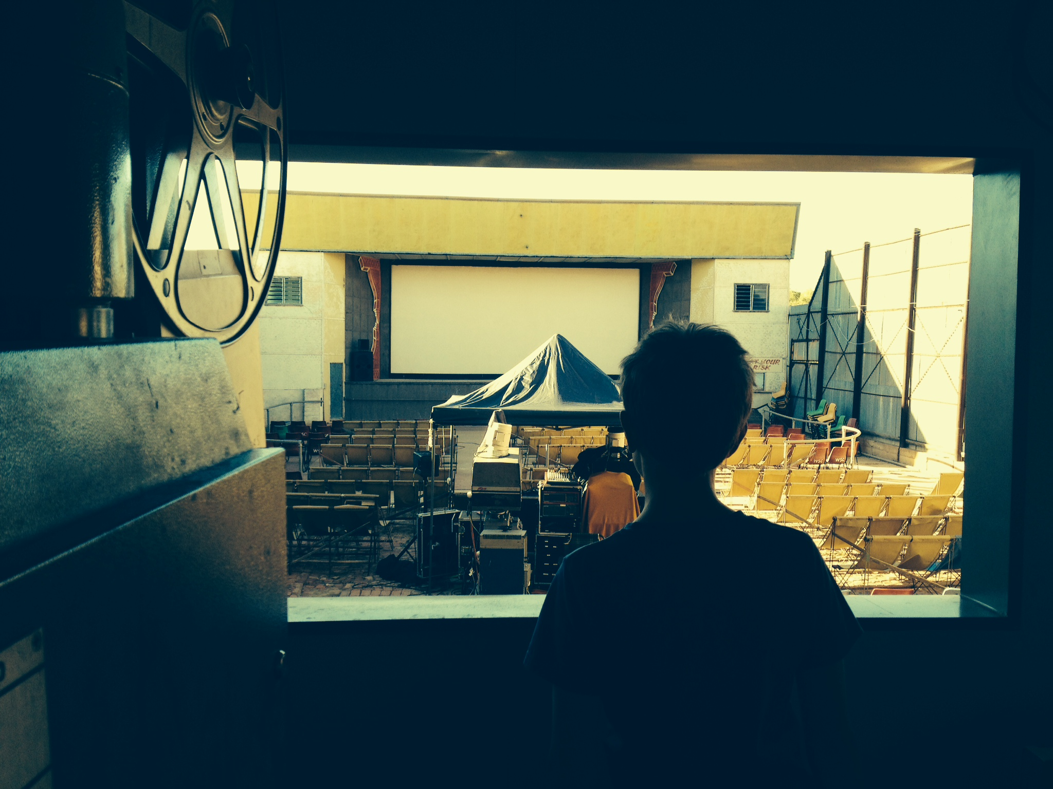 Checking out the century old Winton outdoor cinema from the projection room