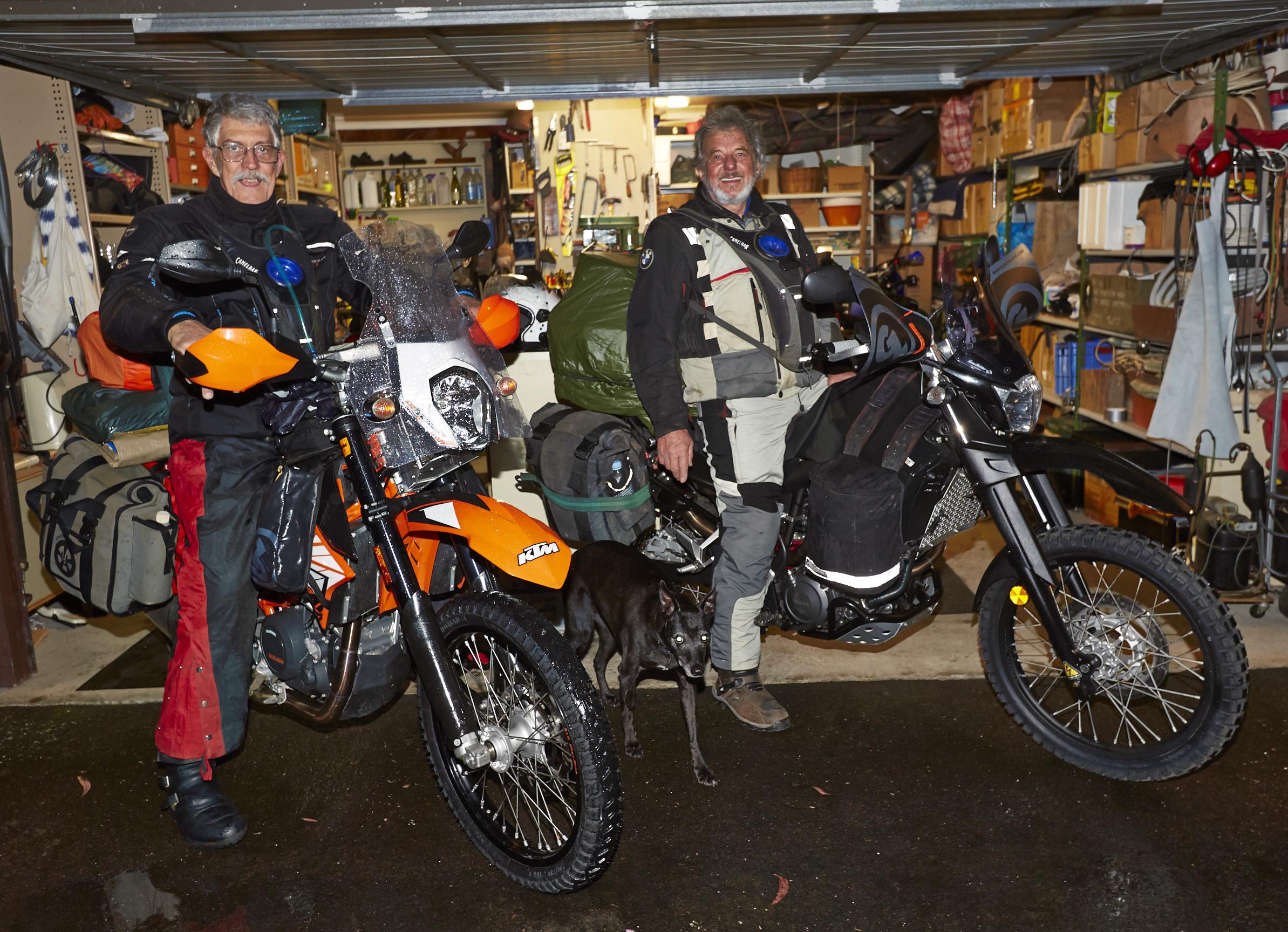 Finally leaving the garage - Ian Horsborgh and 'Eye of the Rider' veteran Paul Evans on their adventurised machines