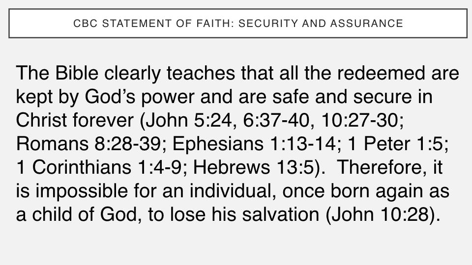 Sermon #39. CBC. 6.17.18 PM. Doctrinal Statement. Security & Assurance.002.jpeg