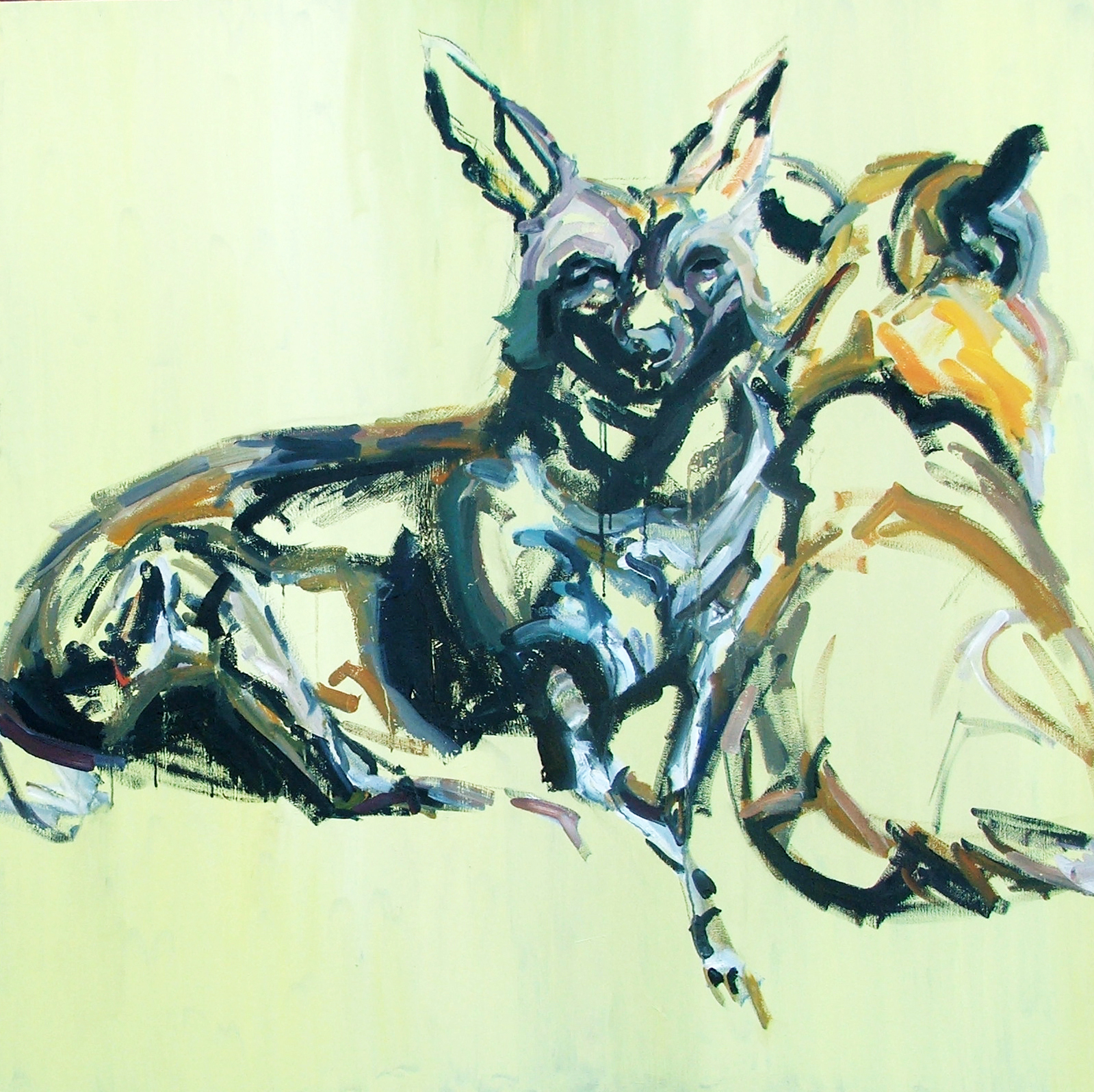 Wild dogs couple, oil on canvas, 120X120 cm, 2014