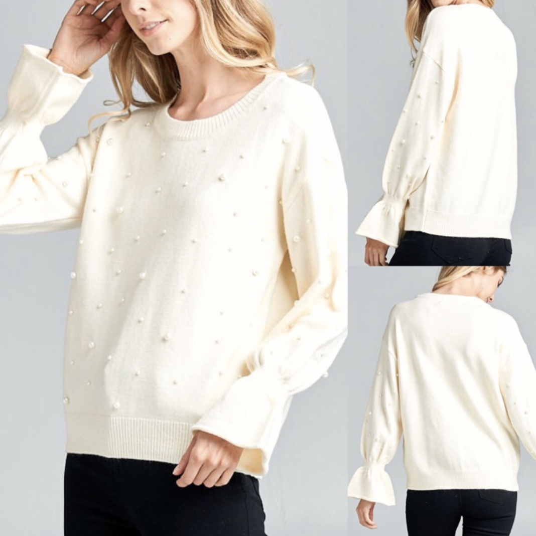 Ivory Pearl Embellished Sweater