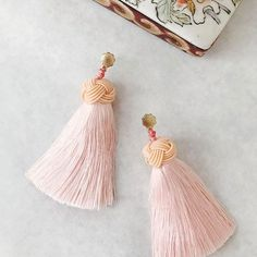 Hart Top Knot Tassel Earrings in Blush