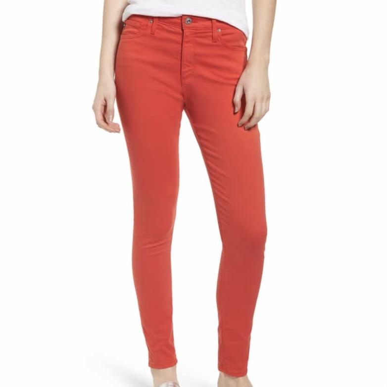 AG Farrah High Waisted Ankle Skinny Jeans in Red Poppy