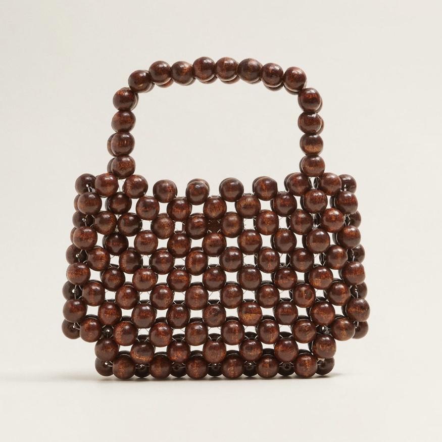 MANGO Beaded Wood Handbag