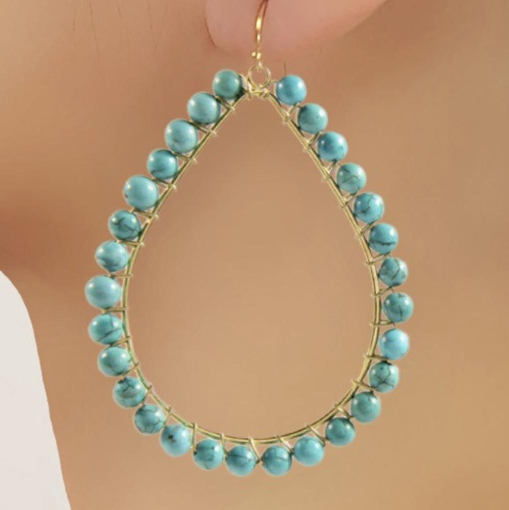 Turquoise Teardrop Hoop Earrings