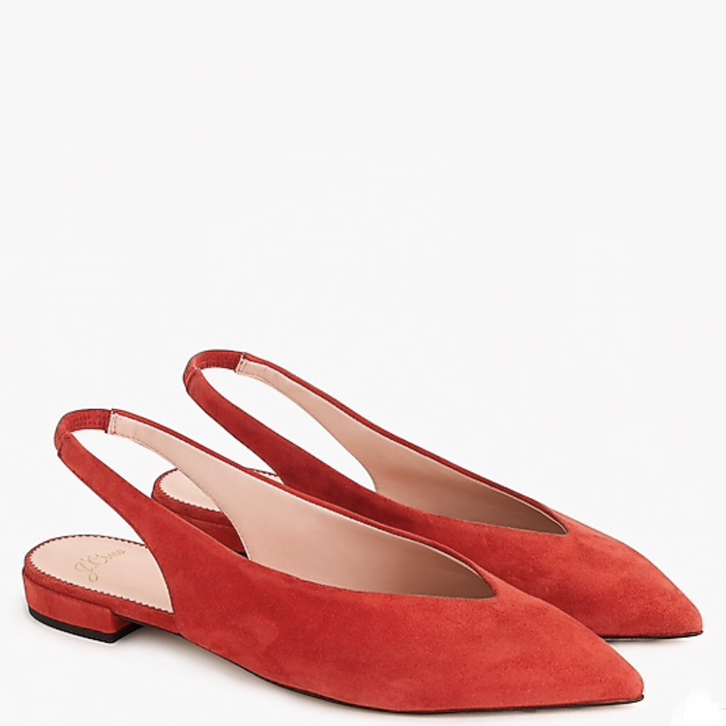 Pointed-Toe Slingback Flats in Suede