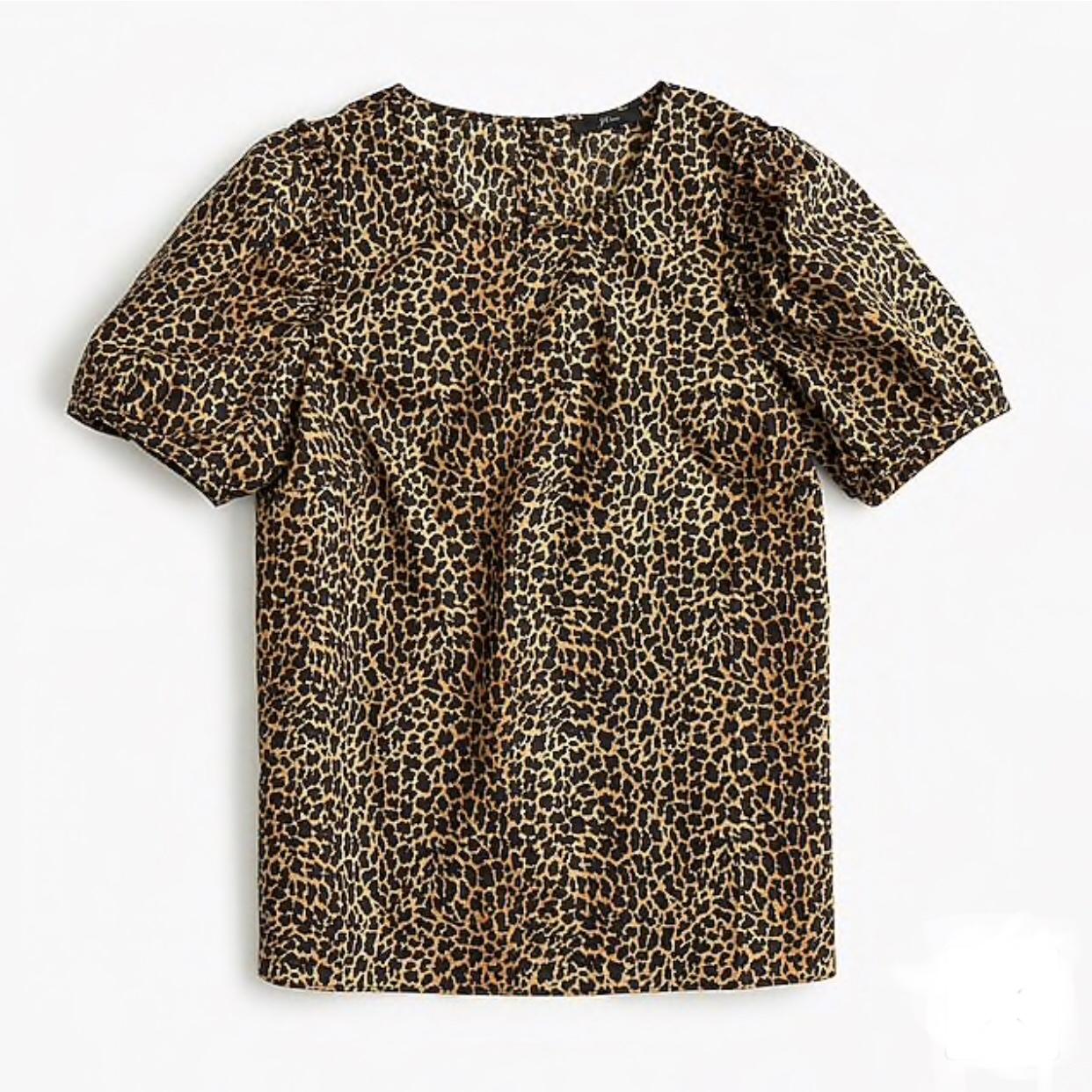 Puff-Sleeve Top in Leopard Print Cotton Poplin
