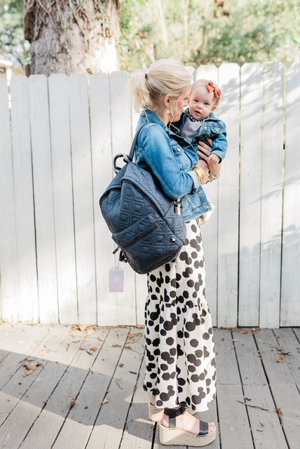 Don't forget to check out our previous Blog Post on the new  Fran Mae  bags from the owner of M. Boutique in Shreveport, LA! They are offering Hearts of Style followers  10% off  and  free shipping  when you call to place your order. Just mention  Hearts of Style  on the phone! In the picture above, I am carrying the Departure Backpack in the color Marina. It's a lifesaver as a busy mom who always has her hands full!
